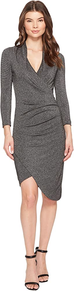 Nicole Miller - Silver Glitz V-Neck Asymmetrical Dress