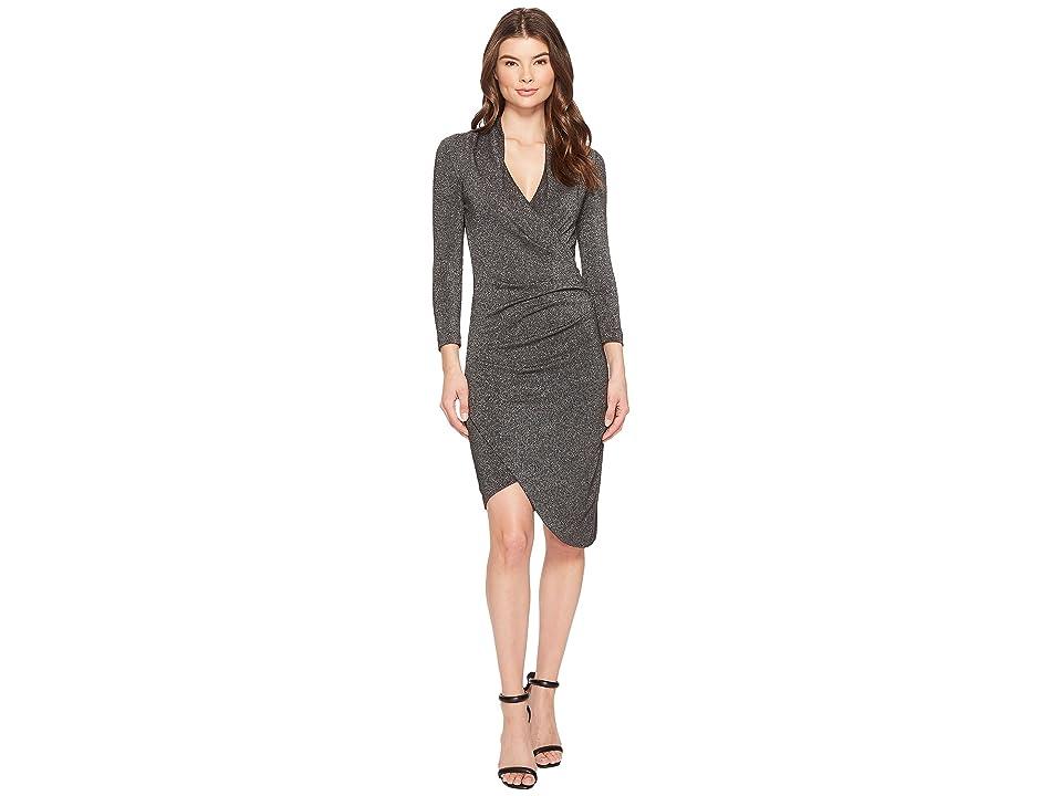 Nicole Miller Silver Glitz V-Neck Asymmetrical Dress (Black/Silver) Women
