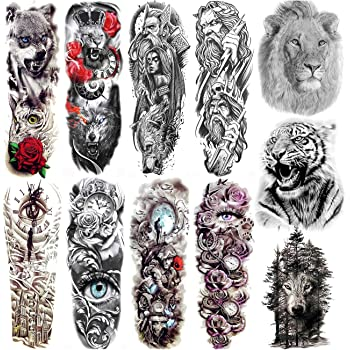 Amazon Com Full Arm Temporary Tattoo Konsait Extra Temporary Tattoo Black Tattoo Body Stickers For Man Women 18 Sheets Beauty