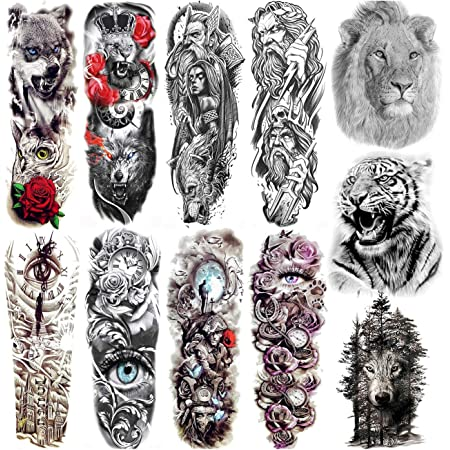 COKTAK 11 Sheets Cool Full Arm Temporary Tattoos For Men Body Sleeve Fake Military Warrior Tattoo Stickers Rose Beast Wolf Lion Tiger Eye Totem Extra Large Tatoos Women Leg Half Armband Animal Adults