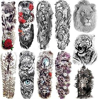 COKTAK 11 Blätter Full Arm Temporäre Tattoos Männer Herre