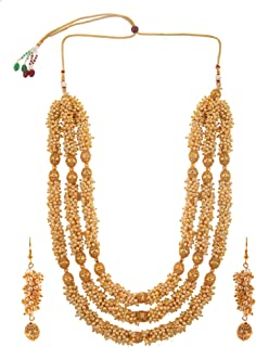 Fashion Indian Bollywood 14 K Gold Plated Faux Pearl Bridal Multi Layered Statement Necklace Earrings Jewelry Set