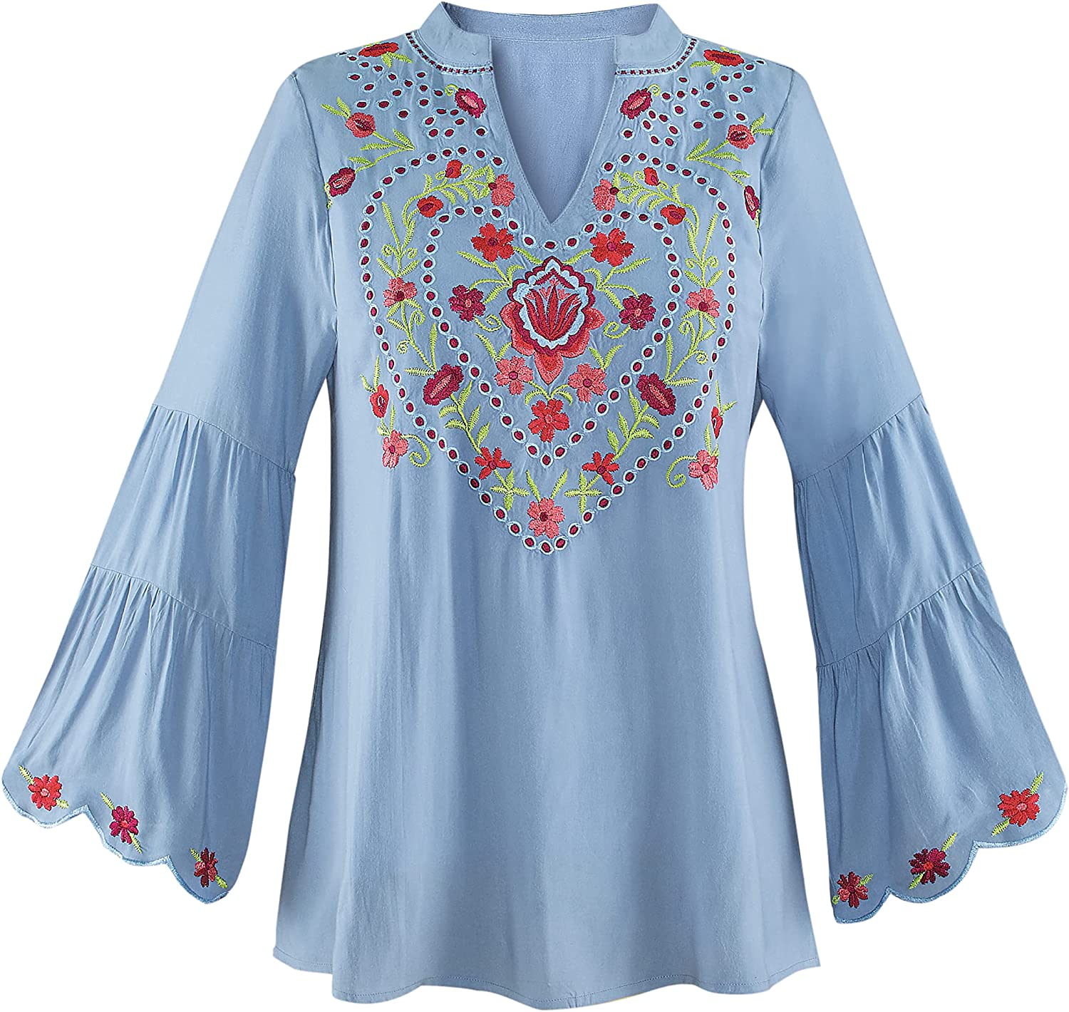 Collections Etc Feminine Embroidered Tunic Top with Long Tiered Bell Sleeves