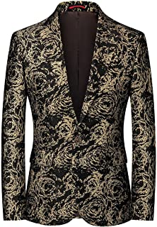 KUDORO Mens Fashion Floral Tuxedo Jacket Slim Fit Single Breasted One Button Blazer Personalized Stage Performance Banquet...