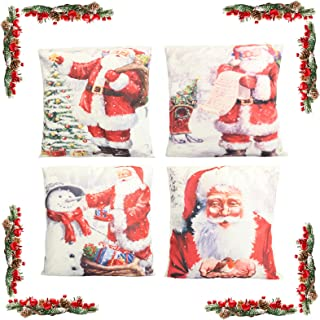 KATELUO 4 pcs Fundas navideñas para Cojines,Funda de Almohada de Navidad,Cojines Navideños Funda de Almohada,para sofá de decoración navideña, Cama, Decoración hogareña 45 cm x 45 cm. (Papá Noel)