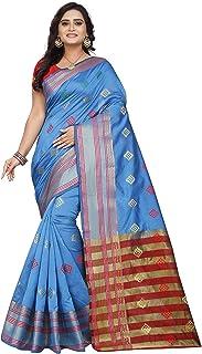 Royal Export banarasi cotton with blouse piece (chopat skyblue saree_Multicoloured_Free)