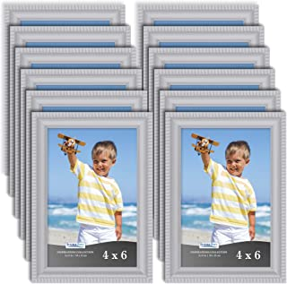 Icona Bay 4x6 Picture Frames (12 Pack, Gray) Picture Frame Set, Wall Mount or Table Top, Set of 12 Inspirations Collection