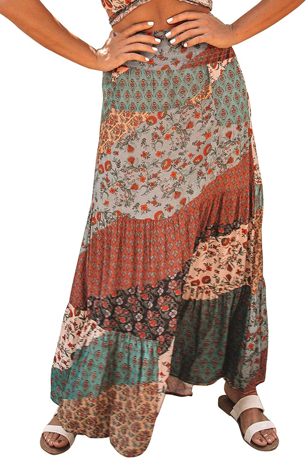 Happy Sailed Womens SEAL limited product Boho Floral Print Finally popular brand Elastic High Pleated Waist