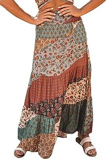 Womens Boho Floral Print Elastic High Waist Pleated Ruffles Swing Long Skirts S-XL