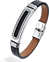 AMITER Men Genuine Leather with Black Stainless Steel Buckle Wrist Cuff bangle - Best Metal Jewelry Accessories