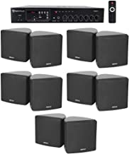 "Rockville Commercial Restaurant Bluetooth Amplifier+10) 3.5"" Black Cube Speakers"
