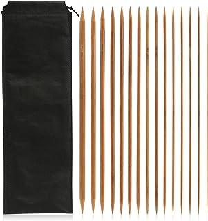 LIHAO 75 Aiguilles a Tricot Double Pointe en Bambou pour Laine (2mm-10mm/Longueur 35cm)
