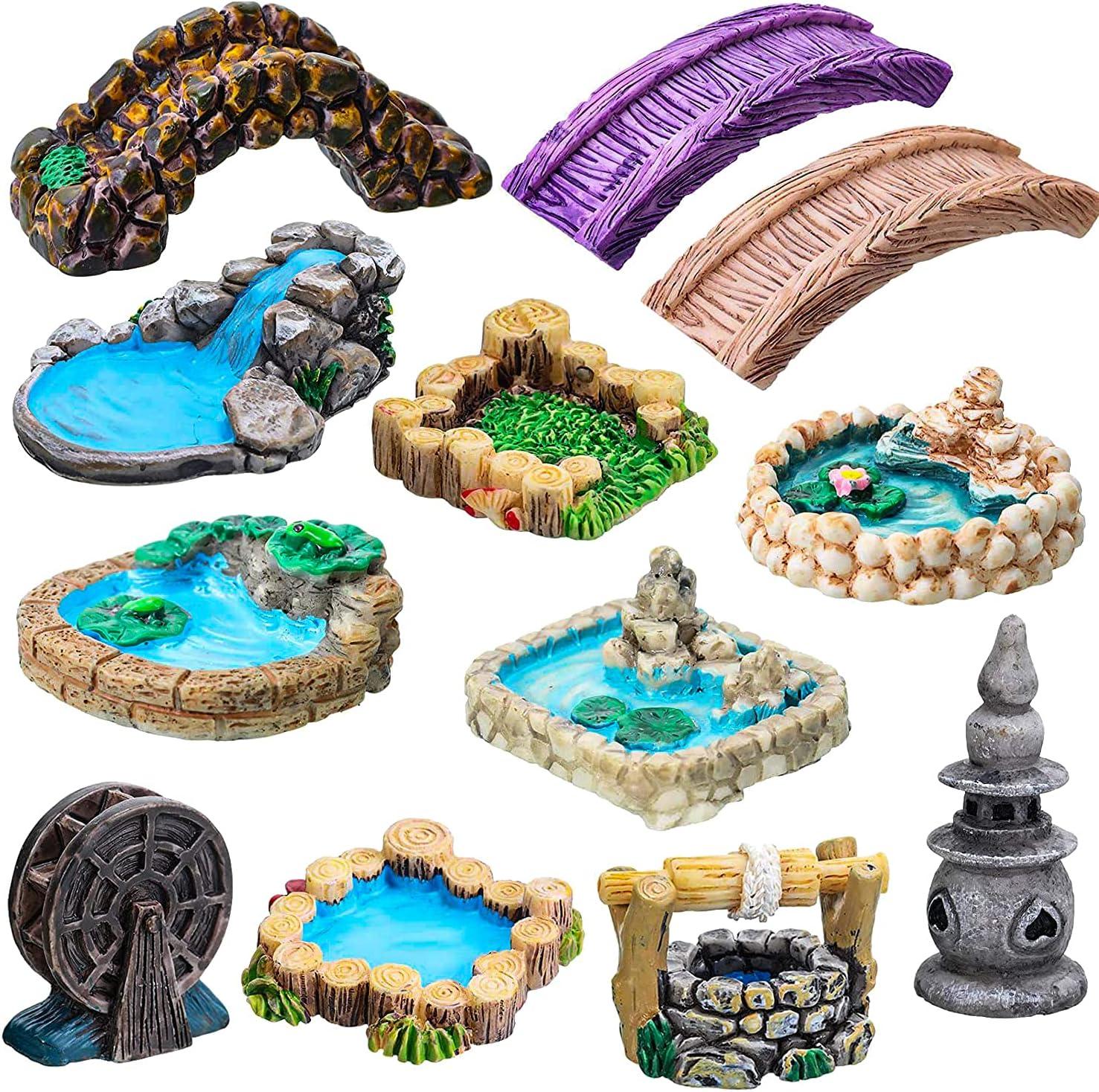 12 PCS Miniature Fairy Garden Accessories,Miniature Pond Lawn Garden Ornament Figurines, Mini Lighthouse Water Well Bridge Figurines, Micro Landscape Ornaments for Garden DIY Kit