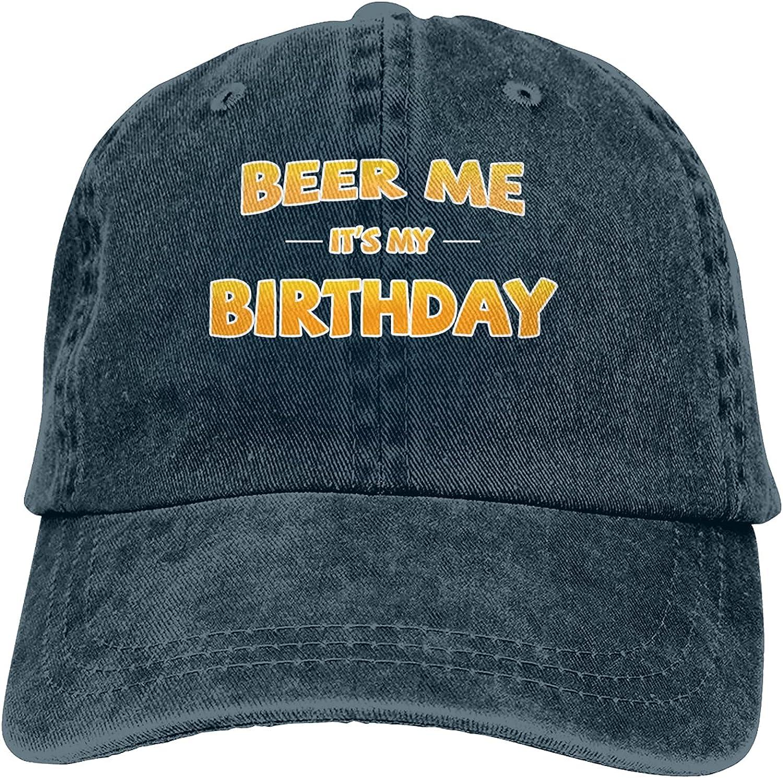 Beer Me It's My Birthday Baseball Cap Trucker Hat Retro Cowboy Dad Hat Classic Adjustable Sports Cap for Men&Women Navy