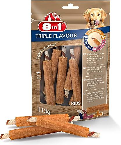 8in1 Triple Flavour Ribs – Côtes à Mâcher pour Chien adulte – Plus de viande, plus de durée de mâche - Limite le Tart...