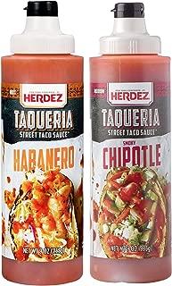 Herdez Taqueria Street Taco Sauce CHIPOTLE & HABANERO COMBO 9 oz Each/Gluten Free (Chipotle/Habanero 2 Pack)