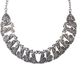 Sansar India Oxidized Silver Plated Beads Choker Indian Necklace Jewelry for Girls and Women