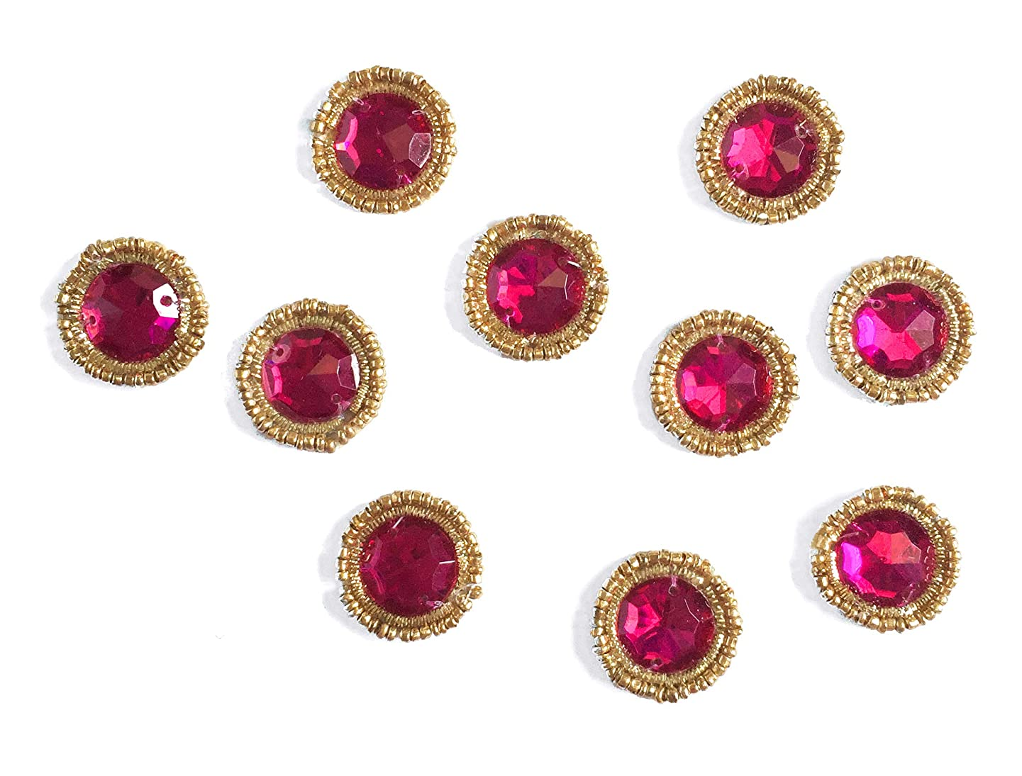 Pink Rhinestone Crystal Sew On Or Glue On Appliques Hand Embroidered Small Patch Pack of 15 by Craftbot