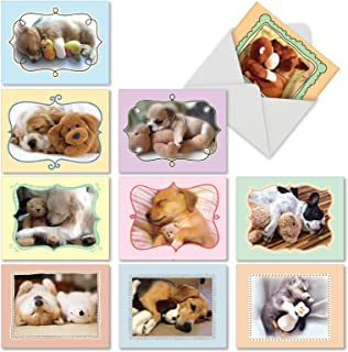 10 Assorted Puppy Note Cards w/Envelopes 4 x 5.12 inch - Assortment of All Occasion 'Cuddle Buddies' Blank Greeting Cards - Sleeping Dogs w/Stuffed Animals - Notecard Stationery M6469OCBsl