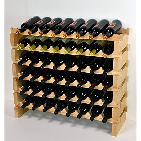 Amazon Com Modular Wine Rack Pine Wood 32 96 Bottle Capacity Storage 8 Bottles Across Up To 12 Rows Stackable Newest Improved Model 48 Bottles 6 Rows Kitchen Dining