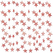 Whaline 52 Feet Rose Gold Party Decorations Star Paper Garland Bunting Banner Hanging Decoration for Wedding Holiday Party Birthday, 2.75 Inches