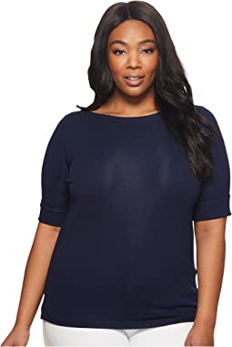 LAUREN Ralph Lauren - Plus Size Stretch Cotton Boat Neck Tee