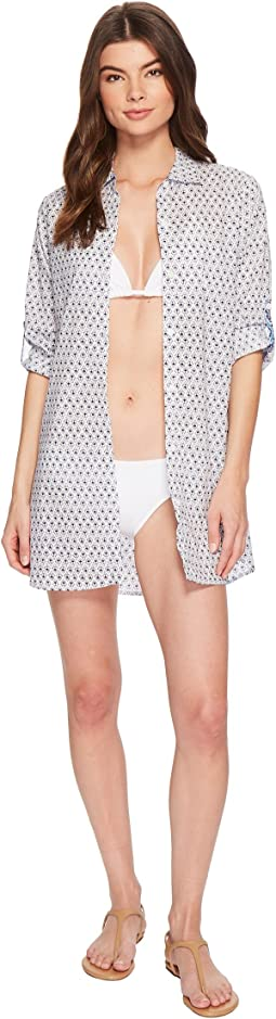 Tika Tiles Boyfriend Shirt Cover-Up