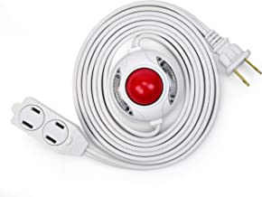 Electes 15 Feet 3 Outlet Extension Cord with Hand/Foot Switch and Light Indicator with Safety Twist-Lock, 16/2, White - UL Listed
