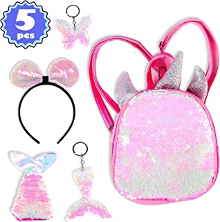 Figoal Deluxe Unicorn Backpack Flip Sequin Bags Mermaid Tail Flip Sequin Keychain Butterfly Key Ring Headband Girls Accessories Party Supplies Favors Birthday Party Events Pink