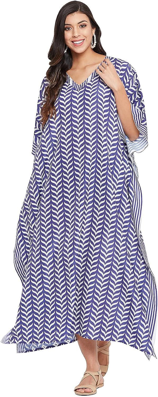 Gypsie Blu Plus Size Kaftans Women Polyester Long Maxi Dress Kimono Style Caftans Summer Casual Nightdress for Ladies