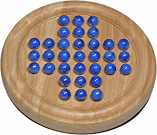 WE Games Solid Wood Solitaire with Blue Glass Marbles