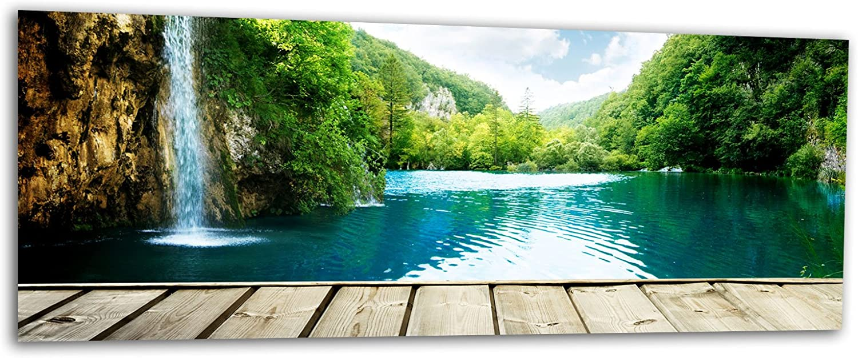 Glasbilder Wandbilder Foto auf Glas Wasserfall Wald 125 x ...