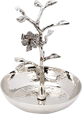 Classic Touch MSRC54-Hammered Stainless Steel Ring Catcher Holder Jeweled Flower
