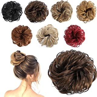 Messy Curly Hair Messy Bun Hair PieceThick Updo Scrunchies Hair Extensions Ponytail Hairpiece Accessories for Women (1 Pie...