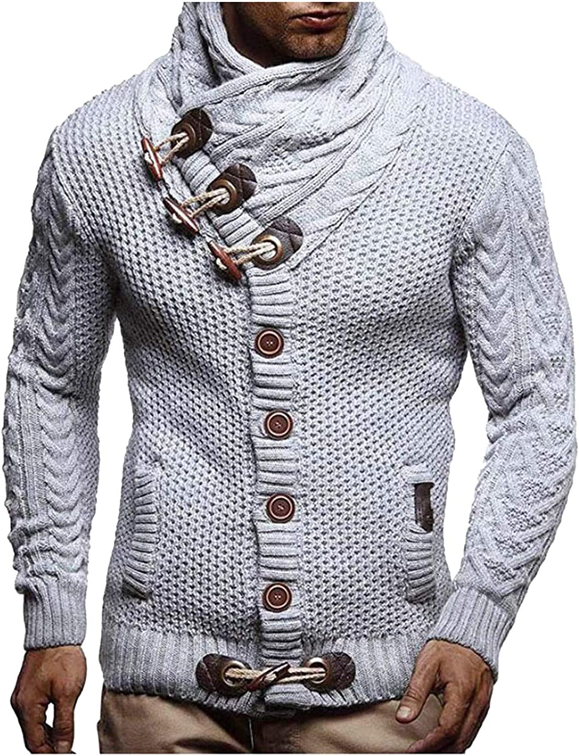 Maryia Men's Winter Turtleneck Long Sleeve Pullover Cardigan Sweaters Turtleneck Knitted Jumper Tops Blouse Gray