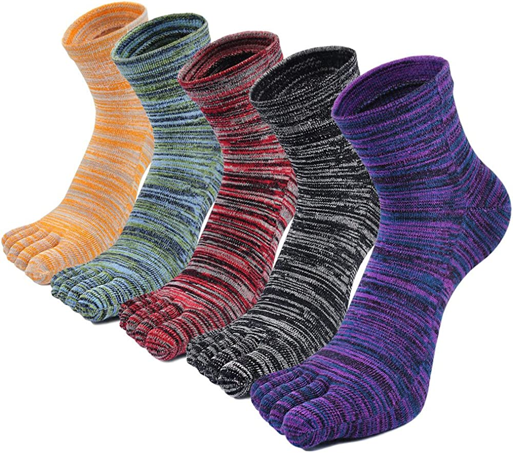 ZAKASA Men Toe Socks Cotton Ankle Five Finger Crew Socks Athletic Running Socks 5 Pack 10-13