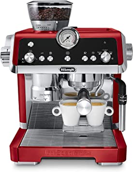 De'Longhi EC9335R La Specialista Espresso Machine with Sensor Grinder, Dual Heating System, Advanced Latte System & Hot Water Spout for Americano Coffee or Tea, Stainless Steel, Red