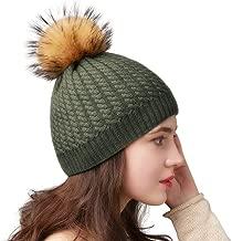 FURTALK Winter Beanie for Women Warm Knit Bobble Skull Cap Big Fur Pom Pom Hats for Women