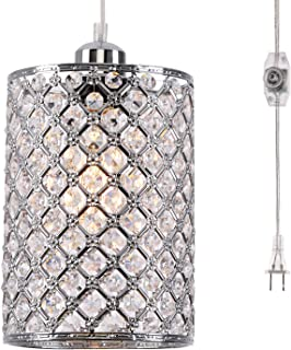 kingmi Plug-in Pendant Lights Dimmable Chandelier with ON/Off Dimmer Switch and 16.4' Handing Cord, Chrome Cylinder Style for Bedroom Dining Room and More