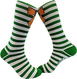 Orange Bow Green Stripe Socks Cute Festive Footwear