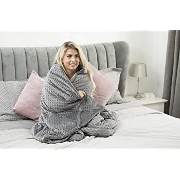 Hartann Ltd. Premium Kids & Adult Weighted Blanket & Removable Cover   6.8kg   203cm x 152cm   Double Bed   Premium Glass Beads   Cotton/Minky   Grey/Grey