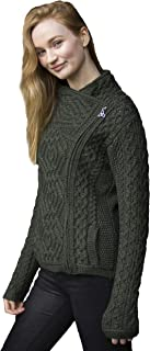 Aran Crafts Cable Knit Side Zip Cardigan (100% Merino Wool)