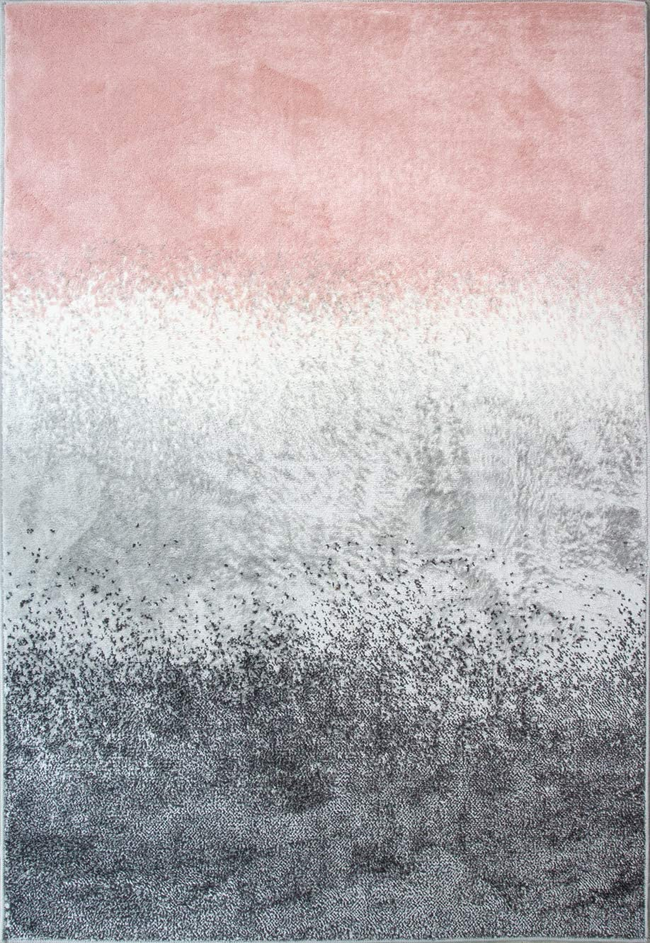 Pink and Max 84% OFF Gray Ombre Striped Blush Distressed Excellence Block Rug Graphite
