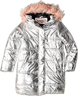 Glo Oversize Metallic Foil Puffer Jacket w/ Colored Faux Fur (Little Kids/Big Kids)