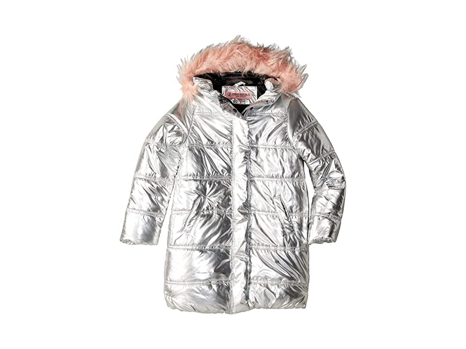 Urban Republic Kids Glo Oversize Metallic Foil Puffer Jacket w/ Colored Faux Fur (Little Kids/Big Kids) (Silver) Girl