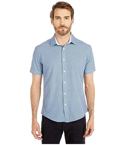 Vince Camuto Short Sleeve Sport Shirt (Turquoise Print) Men