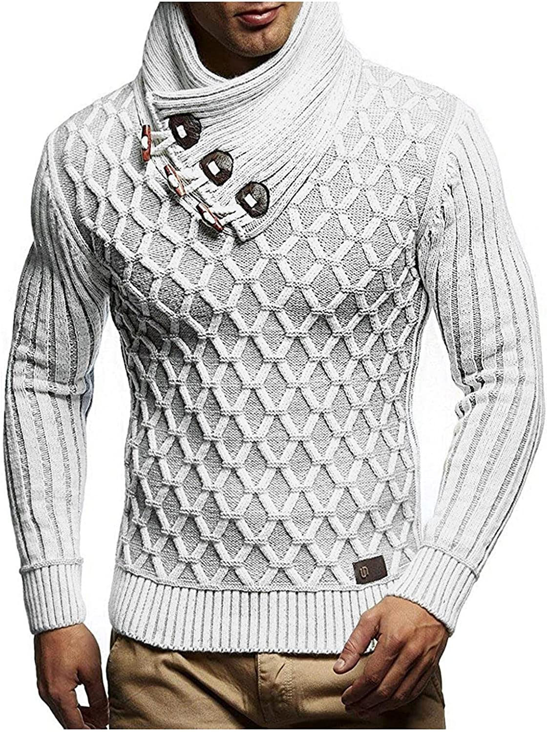 Men's Cable Knit Cardigan Sweater Long Sleeve Solid Color Plaid Turtleneck Pullover Tops Sweater Winter Fall Coat Blouse
