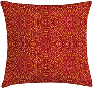 Throw Pillow Cover, Red Mandala Throw Pillow Cushion Cover, Tribal Motifs Details Floral Wisdom Eastern, Decorative Square Accent Pillow Case 26