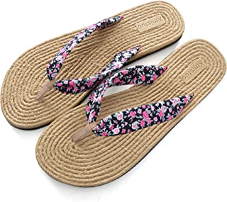 Memorygou Flip-Flops Slim Sandal for Women, Black Design Comfort Proof Slippers Black