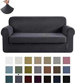 CHUN YI Stretch Loveseat Sofa Slipcover 2-Piece Couch Cover Furniture Protector, 2 Seater Coat Soft with Elastic Bottom, Checks Spandex Jacquard Fabric, Medium, Gray